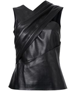 Mugler | Sleeveless Leather Top 38 Lamb Skin/Polyester/Viscose