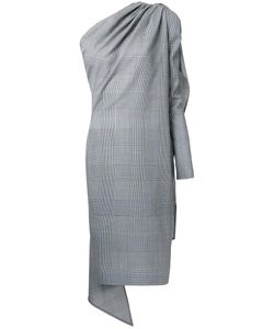 Gareth Pugh | Glen Plaid Asymmetric Dress 42 Cupro/Virgin