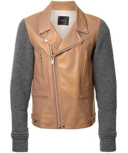 Undercover | Knit Sleeves Biker Jacket 4 Calf Leather/Cupro/Wool