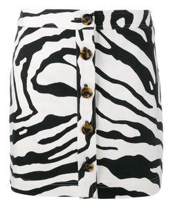 Adam Lippes | Zebra Print Mini Skirt 10 Cotton/Silk/Spandex/Elastane