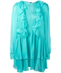 Daniele Carlotta | Ruffled Semi-Sheer Mini Dress 38 Silk