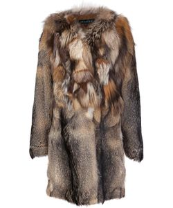 JOCELYN | Contrast Collar Coat Small Fox Fur/Polyester
