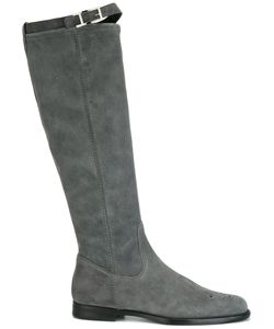 Unützer | Buckled Detailing Flat Boots 41 Leather/Suede/Rubber