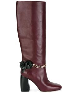 Tory Burch | Chain Detailing Boots 9 Leather/Calf Leather
