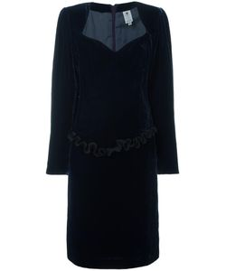 Emanuel Ungaro Vintage | Ruffled Trim Velvet Dress 44