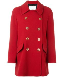 Sonia Rykiel | Logo Buttons Double-Breasted Coat 40 Cupro/Wool/Polyamide/Spandex/Elastane