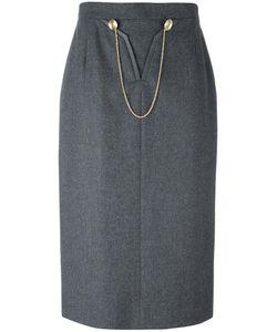 LOUIS FERAUD VINTAGE | Chain Detail Skirt 46
