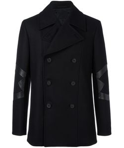 Les Hommes | Panelled Double Breasted Coat 52 Viscose/Leather/Polyester/Cashmere