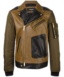 Dsquared2 | Pocket Arm Biker Jacket 48 Calf Leather/Polyamide/Polyurethane/Cotton