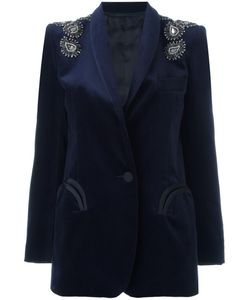 BLAZÉ MILANO | Blazé Milano Embellished Velvet Blazer 38 Cotton/Silk/Cupro/Viscose