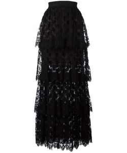Elie Saab | Lace Layered Long Skirt 38 Silk/Cotton/Polyamide