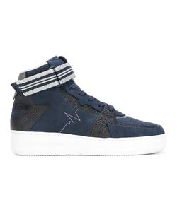 ALBERTO PREMI | Panelled Hi-Top Sneakers 40 Leather/Suede/Rubber/Polyamide