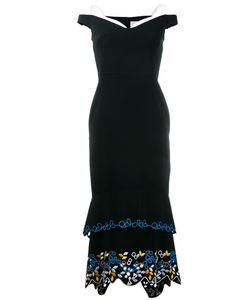 Peter Pilotto | Off-Shoulder Embroidered Dress 14 Acetate/Viscose/Spandex/Elastane/Polyester