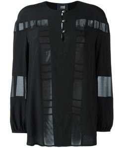 Cavalli Class | Sheer Panel Blouse 40 Acetate/Silk/Polyester