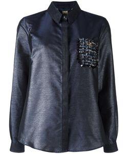Cavalli Class | Embellished Pocket Shirt 40 Polyester/Polyamide