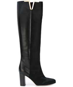 Brian Atwood | Knee Length Boots 38 Leather/Goat Fur