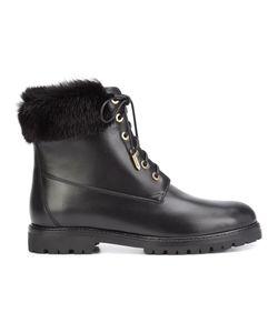 Aquazzura | Lace-Up Combat Boots 41 Mink Fur/Leather/Rubber