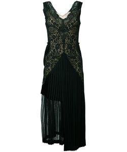 Stella Mccartney | Pleated Lace Detail Dress 38 Viscose/Acetate/Polyester/Silk