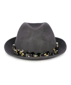 LE CHAPEAU   Button Embellished Fedora Hat 57 Merino/Metal