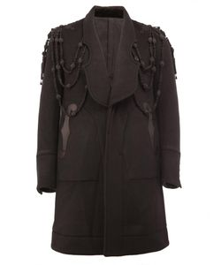 THE SOLOIST | Embroidered Panelled Coat 48 Lamb Skin/Cupro/Cashmere/Wool