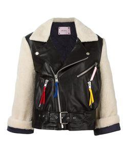 FLEAMADONNA | Bi-Material Biker Jacket Large Polyurethane/Rayon/Polyester/Polyester