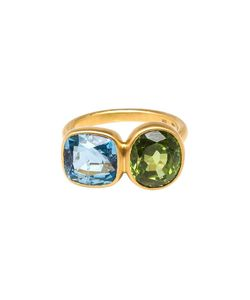 MARIE HELENE DE TAILLAC | Aquamarine And Peridot Princess Duet Ring