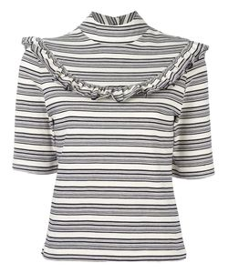 FLEAMADONNA | Ruffled Striped Top Small Cotton