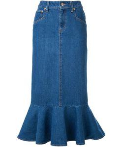 DRESS CAMP | Dresscamp Peplum Hem Midi Skirt 38 Cotton