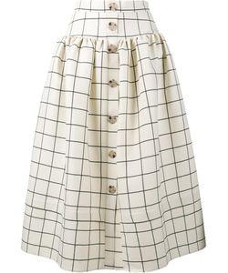 REJINA PYO | Freya Grid Print Skirt 8 Wool/Silk/Polyester
