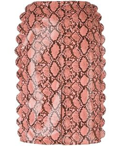 FLEAMADONNA | Scalloped Snakeskin Effect Skirt Medium Polyester/Spandex/Elastane