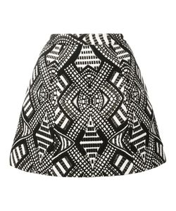 Alice + Olivia | Geometric Pattern A-Line Skirt 12 Acrylic/Polyester/Spandex/Elastane