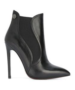 GIANNI RENZI | Elastic Detailing Ankle Boots 38.5 Leather/Spandex/Elastane