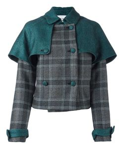 Daizy Shely   Double-Breasted Plaid Jacket 42 Wool/Acetate/Polyamide