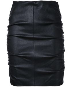 SCANLAN THEODORE | Stretch Ruched Skirt 6 Calf Leather