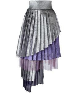 Daizy Shely   Asymmetric Pleated Skirt 42 Acetate/Polyester/Polyamide
