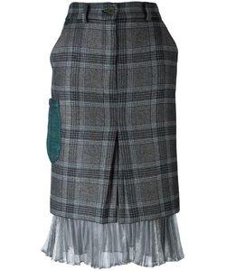Daizy Shely   -Tone Detailing Plaid Skirt 44 Wool/Acetate/Polyamide/Polyester