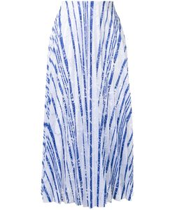 SCANLAN THEODORE | Striped Lace Pleated Skirt 10 Polyester