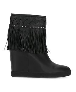 Le Silla | Concealed Platform Fringed Boots 40.5 Leather/Rubber