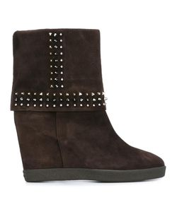 Le Silla | Concealed Platform Studded Boots 38.5 Suede/Leather/Rubber