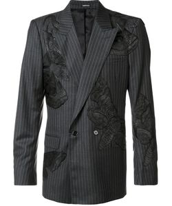 Alexander McQueen | Moth Appliqued Pin Striped Blazer 52