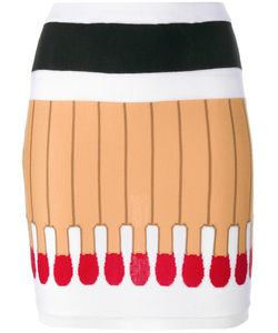 Moschino | Matchstick Intarsia Knit Skirt 38 Virgin Wool