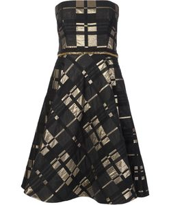 Badgley Mischka | Strapless Flared Dress 8 Polyester/Acrylic/Acetate/Wool