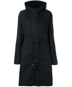 Ahirain | Hooded Belted Coat Small Cotton/Polyurethane/Polyamide/Lamb Fur