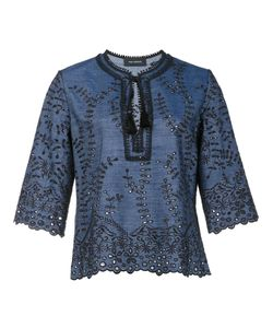 Yigal Azrouel | Embroidered Details Blouse 6 Cotton/Linen/Flax