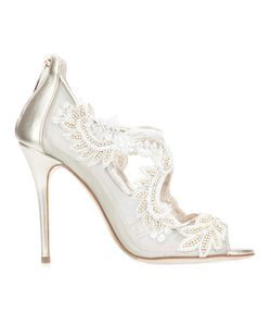 Oscar de la Renta | Sequin Embroidered Mesh Pumps 39