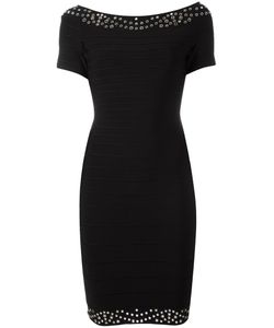 Hervé Léger | Shortsleeved Fitted Dress Medium Nylon/Spandex/Elastane/Rayon