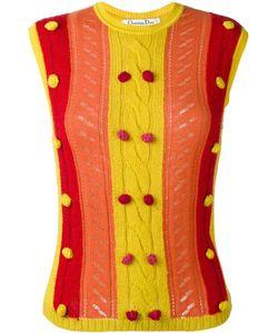 Christian Dior Vintage   Knitted Pom Pom Embellished Vest 38