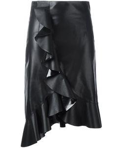 Lanvin | Ruffle Detail Skirt 38 Lamb Skin/Silk