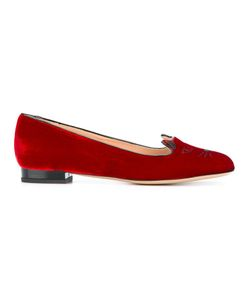 Charlotte Olympia | Kitty Slippers 37.5 Velvet/Leather/Patent Leather