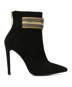 Pierre Balmain | Embellished Strap Ankle Boots 39 Leather/Suede/Pvc